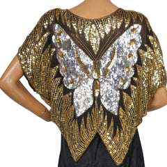 1980s-Disco-Butterfly-Top-Gold-Silver-Sequins
