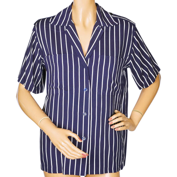 Vintage 1970s Guy Laroche Striped Blouse Blue & White Ladies Size Small 4 - Poppy's Vintage Clothing