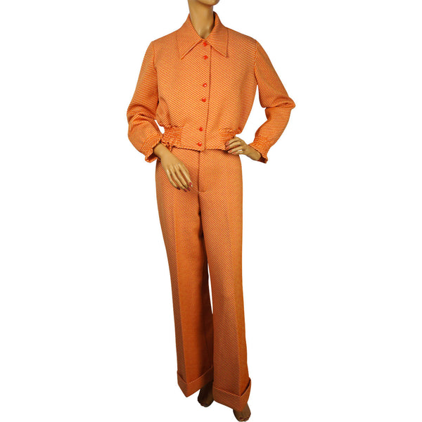 Vintage 1970s Pantsuit Orange Striped Poly Knit 2 Piece Size M - Poppy's Vintage Clothing