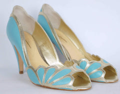 Rachel Simpson Isabelle Blue Pump Shoes - Size 9 US 40 European - Poppy's Vintage Clothing