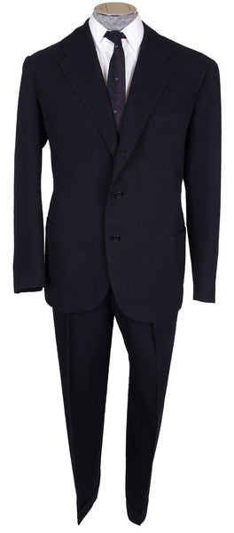 Vintage 1940s Mens Suit Custom Tailored in Rome Blue Wool Size L 44 T - Poppy's Vintage Clothing