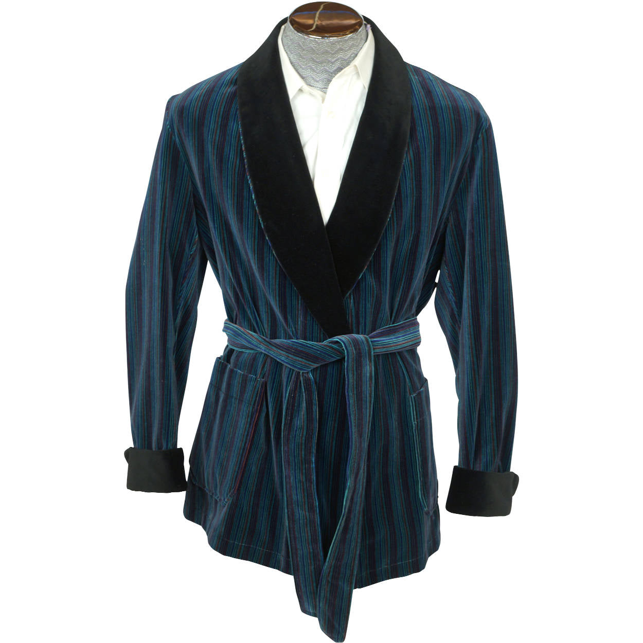Vintage Smoking Jacket Striped Cotton Velvet Majestic For Ag Grand Luxe Size L