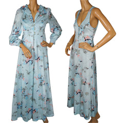 Vintage-1970s-Nylon-Printed-Nightie-Peignoir-Set