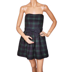 Strapless Plaid Mini Dress