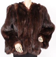 Vintage 1940s Beaver Fur Jacket Abraham Straus New York M - Poppy's Vintage Clothing
