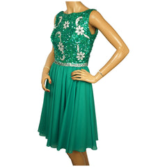 1960s-Green-Sequinned-Chiffon-Party-Dress