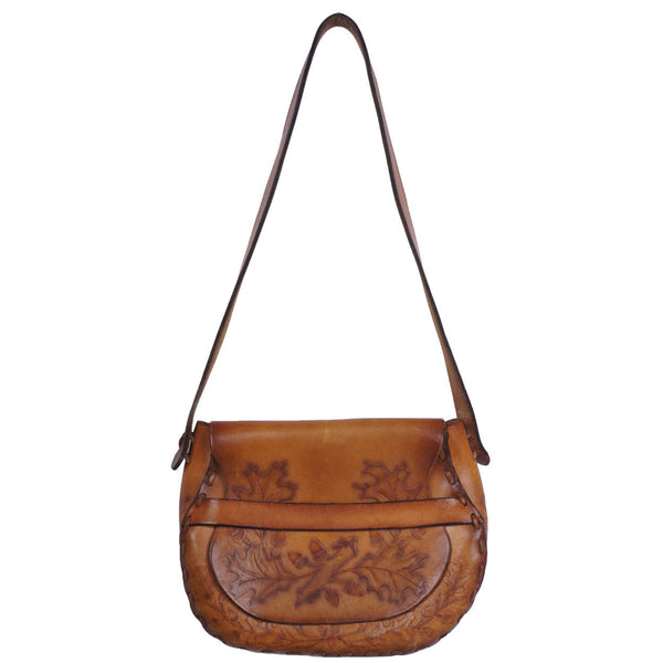 Vintage 1960s Hippie Tooled Leather Purse Boho Saddle Bag Acorns & Oak Leaves - Poppy's Vintage Clothing