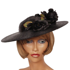 Vintage Adolfo II Black Straw Wide Brim Ladies Hat Size Medium - Poppy's Vintage Clothing