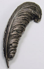 Sterling Silver Feather Quill Brooch 1940s Adorna - Poppy's Vintage Clothing