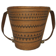 Dayak Tribe Baby Carrier Borneo Indonesia Mid 20th Century Woven Rattan Basket - Poppy's Vintage Clothing