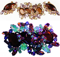 D&E Juliana Jewelry Alexandrite Glass Rhinestone Demi Parure Brooch & Earrings - Poppy's Vintage Clothing