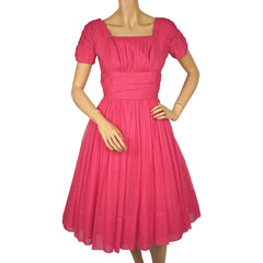 Vintage 1950s 60s Pink Chiffon Party Dress Algo Size M - Poppy's Vintage Clothing