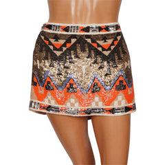 AllSaints Spitalfields Mini Skirt - Aztec Pattern - Fully Sequined - Poppy's Vintage Clothing
