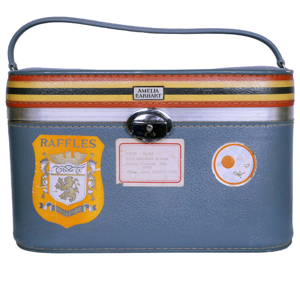 Vintage 1960s Amelia Earhart Striped Travel Train Case Blue Vanity Luggage - Poppy's Vintage Clothing
