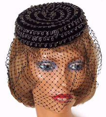 1950s vintage pillbox hat - beaded veiled cocktail hat