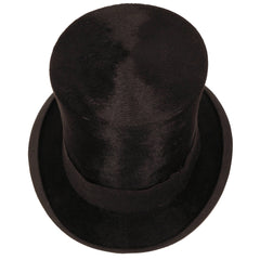 Antique-Victorian-Black-Silk-Plush-Top-Hat