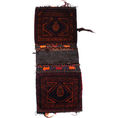 Antique Tribal Kilim Carpet Timuri Baluch Khorjun Saddle Bag Hand Knotted Wool - Poppy's Vintage Clothing