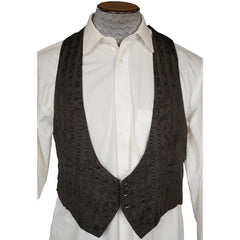 Antique Mens Vest Edwardian Era Black Evening Waistcoat circa 1910 Size M - Poppy's Vintage Clothing
