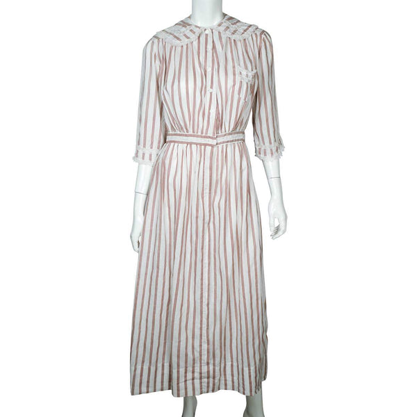 1910s Antique Striped Cotton Day Dress circa 1914 - Poppy's Vintage Clothing