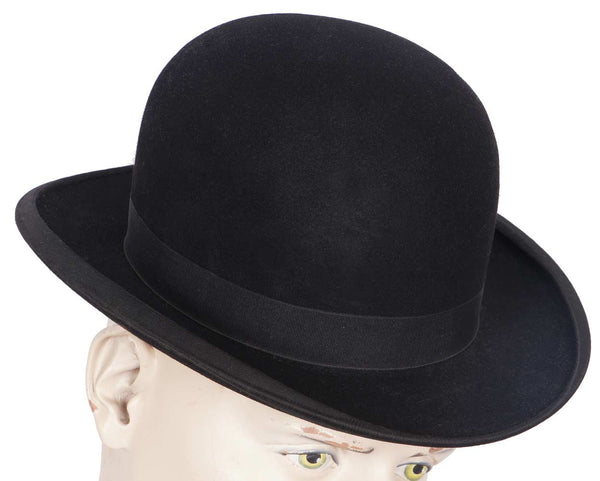 Antique Mens English Bowler Hat Edwardian Derby Size Small 6 7/8 - Poppy's Vintage Clothing