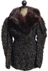 Antique Fur Jacket Victorian Era Curly Lamb - Poppy's Vintage Clothing