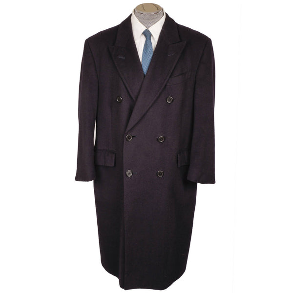 Vintage Aquascutum England Pure Cashmere Overcoat Navy Blue Coat Mens Size L - Poppy's Vintage Clothing