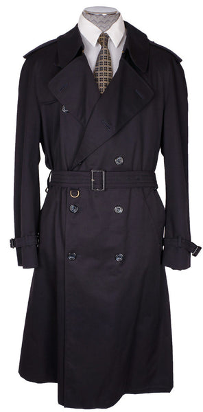 Vintage 1980s Trench Raincoat by Aquascutum - Dark Navy - 44 R - Poppy's Vintage Clothing
