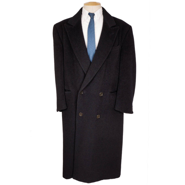 Vintage Giorgio Armani Black Label Overcoat Wool Mens Coat Size L Long Topcoat - Poppy's Vintage Clothing