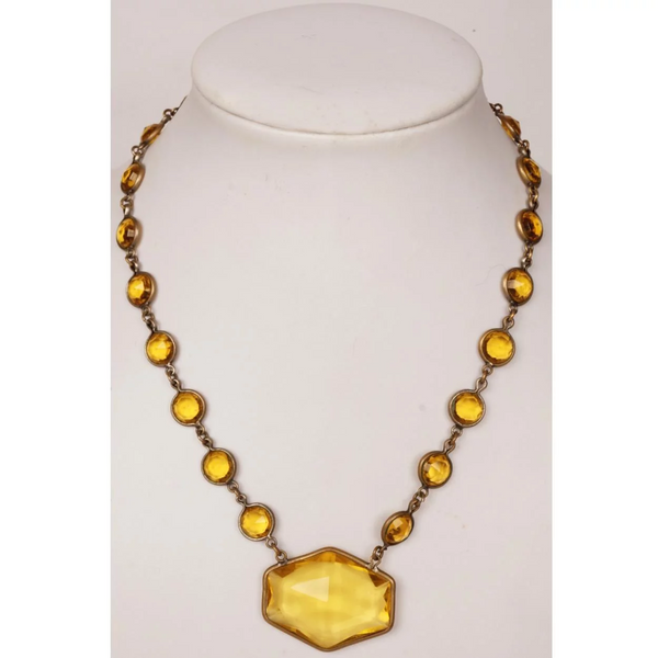 Art Deco 1930s Czech Topaz Glass Necklace Made in Czechoslovakia - Poppy's Vintage Clothing