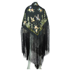 Art Deco Chinese Canton Silk Embroidered Shawl People w Floral Embroidery As Is - Poppy's Vintage Clothing