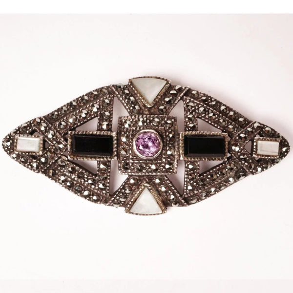 Vintage Art Deco Sterling Silver Marcasite Brooch w Amethyst Onyx and MOP - Poppy's Vintage Clothing