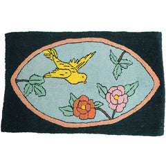 Folk-Art-Hooked-Rug-Bird-with-Flowers