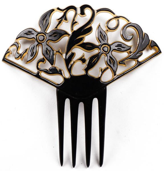 Art Deco Celluloid Hair Comb Black over Light Yellow Two Tone - Poppy's Vintage Clothing