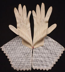 Art Deco Gauntlet Gloves Ladies Size M Vintage 1930s Unused