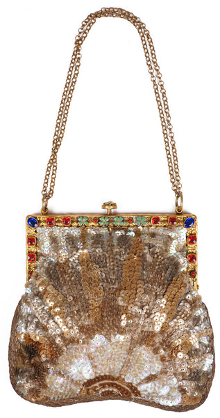 Art Deco Sequined Evening Bag with Jewelled Frame