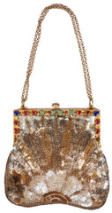 Art Deco Sequined Purse with Jewelled Frame 1920s Evening Bag Made in France - Poppy's Vintage Clothing