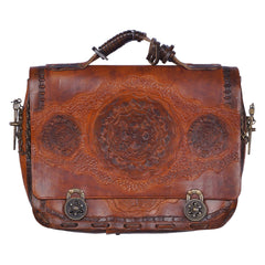 Vintage 1970s Artisan Hand Tooled Leather Briefcase Quebec Made Signed JAPY 79 - Poppy's Vintage Clothing