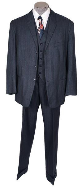 1950s Vintage 3-Piece Suit Hand Tailored Jacket Vest Pants Grey-Blue with Muted Stripe Wool
