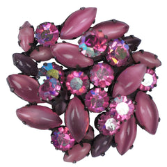 Vintage Austrian Rhinestone Brooch Pink & Purple Navettes Signed Austria 1950s - Poppy's Vintage Clothing