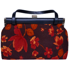 Vintage 1950s Handbag Purse Autumn Leaves Cloth and Vinyl - Poppy's Vintage Clothing
