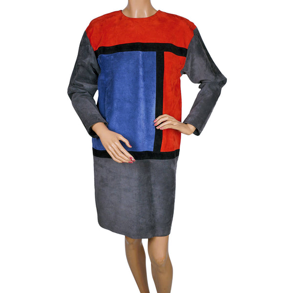 Vintage 1980s Dress Mondrian Colorblock Suede Leather Bagatelle Margaret Godfrey - Poppy's Vintage Clothing