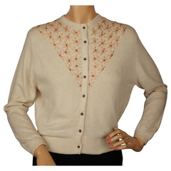 Vintage 1950s Ballantyne Cashmere Sweater Beaded Embroidered Cardigan Ladies M - Poppy's Vintage Clothing