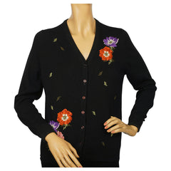 Vintage Ballantyne Scottish Cashmere Cardigan Sweater Floral Pattern Size M - Poppy's Vintage Clothing