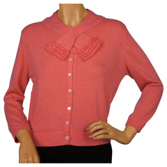Vintage 1960s Ballantyne Scottish Cashmere Sweater Salmon Pink Cardigan Size M - Poppy's Vintage Clothing
