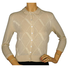Vintage 1960s Ballantyne Scottish Cashmere Intarsia Sweater Beige Size M 36 - Poppy's Vintage Clothing