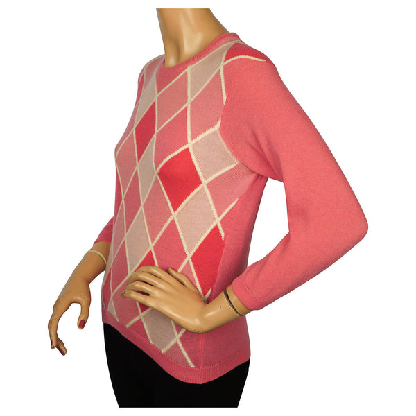 Vintage 1960s Ballantyne Pink Argyle Scottish Cashmere Sweater Pullover Ladies M Poppy's Vintage Clothing