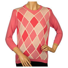 Vintage 1960s Ballantyne Pink Argyle Scottish Cashmere Sweater Pullover Ladies M - Poppy's Vintage Clothing