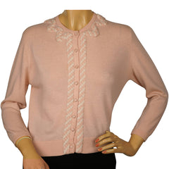 Vintage 1960s Ballantyne Scottish Cashmere Sweater Pink Cardigan Ladies M - Poppy's Vintage Clothing