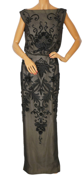Vintage Pierre Balmain Florilege Evening Gown Black Sequin Net Dress Size M - Poppy's Vintage Clothing