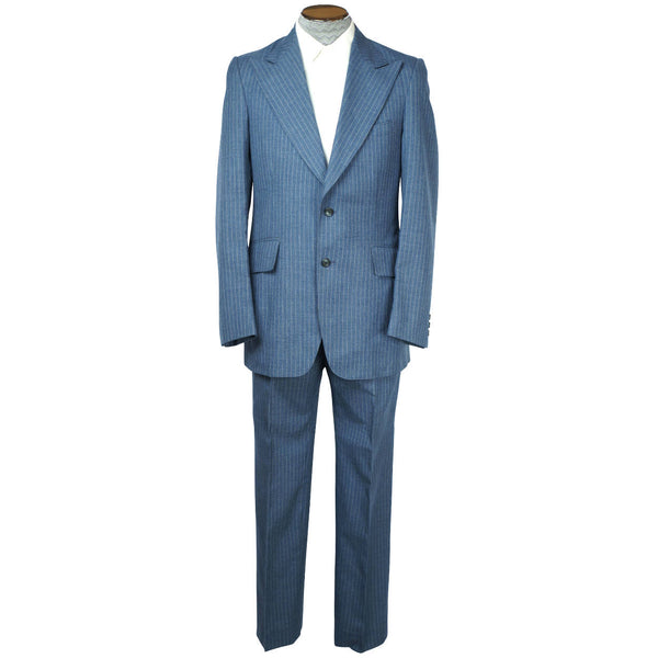 Vintage 1970s Mens Suit Blue Pinstripe Wool Size Medium 38 Tall - Poppy's Vintage Clothing